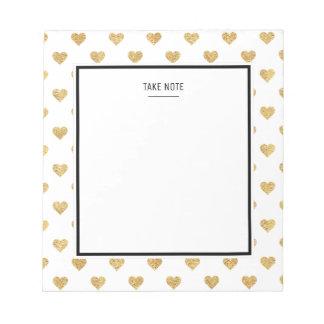 Gold glitter hearts notepads