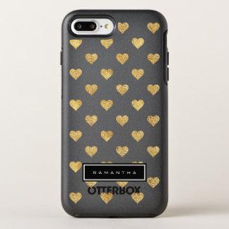 Gold glitter hearts OtterBox symmetry iPhone 8 plus/7 plus case