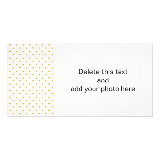 Gold Glitter Hearts Pattern Personalized Photo Card