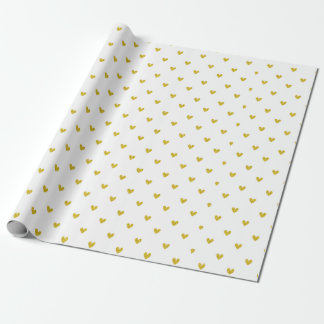 Gold Glitter Hearts Pattern Wrapping Paper