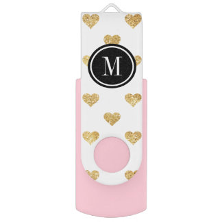 Gold glitter hearts USB flash drive