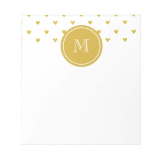 Gold Glitter Hearts with Monogram Notepads