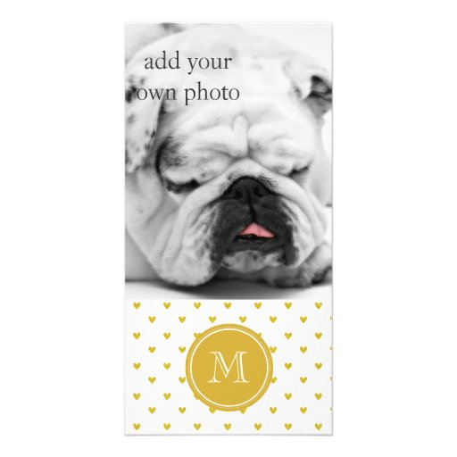Gold Glitter Hearts with Monogram Photo Greeting Card