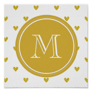 Gold Glitter Hearts with Monogram Print
