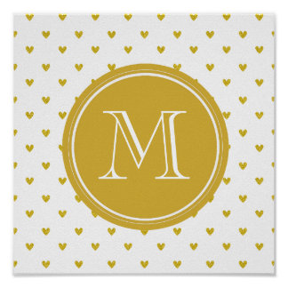 Gold Glitter Hearts with Monogram Posters