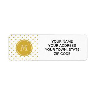 Gold Glitter Hearts with Monogram Return Address Label