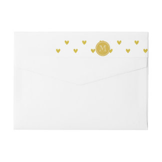 Gold Glitter Hearts with Monogram Wrap Around Label