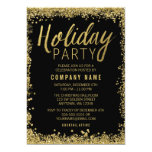 Gold Glitter Holiday Party 13 Cm X 18 Cm Invitation Card