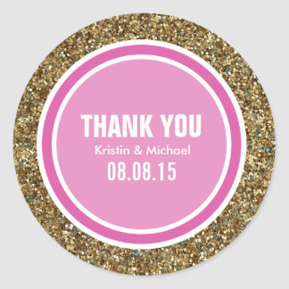 Gold Glitter & Hot Pink Thank You Label