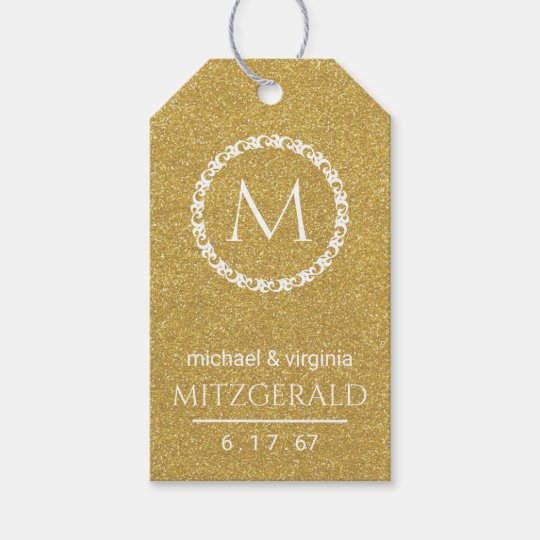 Gold Glitter Image 50th Wedding Anniversary Gift Tags