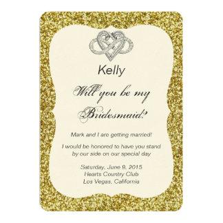 Gold Glitter Infinity Heart Bridesmaid Card 13 Cm X 18 Cm Invitation Card