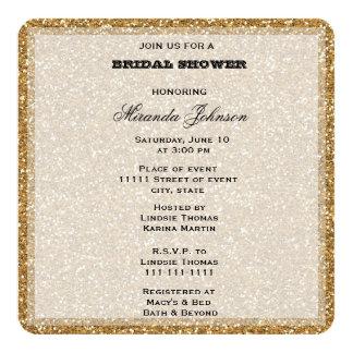 Gold Glitter 13 Cm X 13 Cm Square Invitation Card