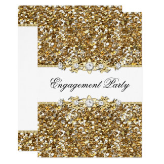 Gold Glitter & Jewel Engagement Party Invite