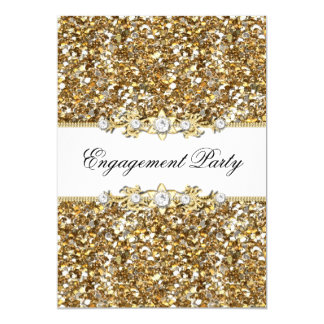 "Gold Glitter & Jewel Engagement Party Invite 5"" X 7"" Invitation Card"