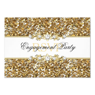 Gold Glitter & Jewel Engagement Party RSVP 3.5x5 Paper Invitation Card