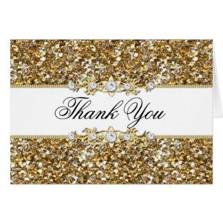 Gold Glitter & Jewel Thank You Card