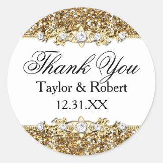 Gold Glitter & Jewel Thank You Sticker