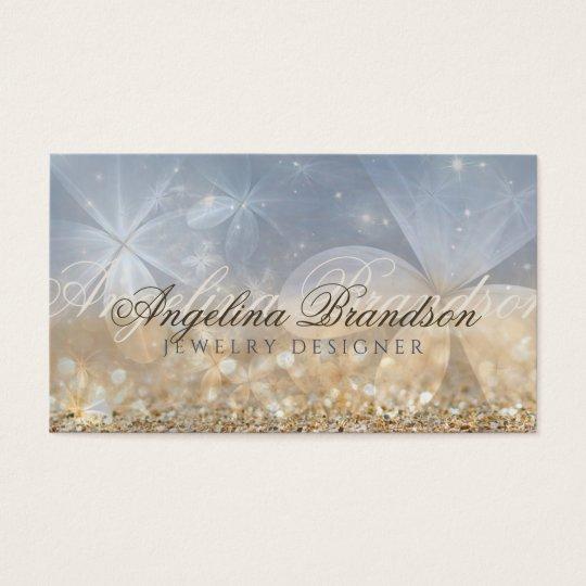 Gold Glitter Jewellery Designer Mystical Flower Business Card