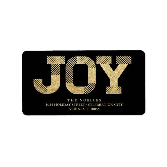 Gold Glitter Joy Christmas Holiday Address Labels