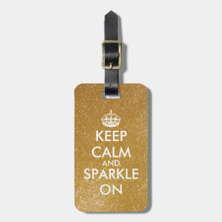 Gold glitter keep calm and sparkle on luggage tag