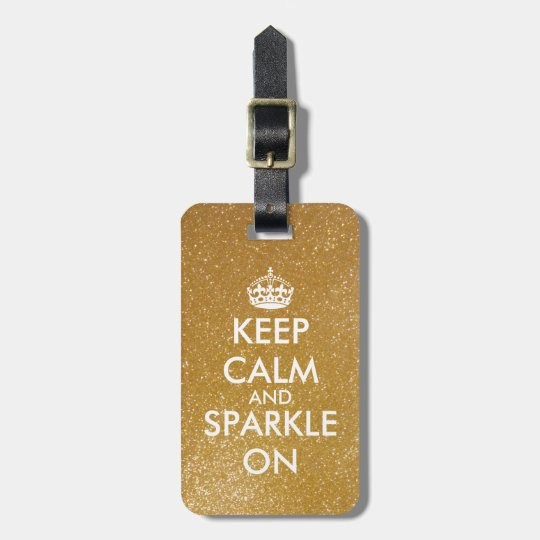 Gold glitter keep calm and sparkle on luggage