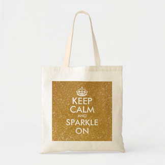 Gold glitter keep calm and sparkle on tote bag