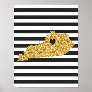 Gold Glitter Kentucky Black and White Stripes Poster