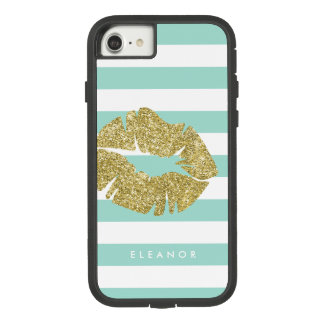 Gold Glitter Kiss Personalized Case-Mate Tough Extreme iPhone 8/7 Case