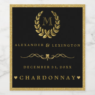Gold Glitter Laurel Wreath Monogram Wedding Wine Label