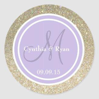 Gold Glitter & Lavender Wedding Monogram Classic Round Sticker
