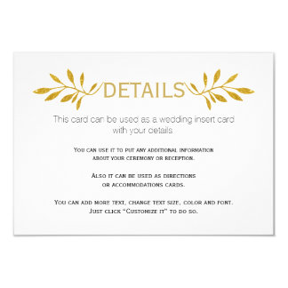 Gold glitter leaves pattern wedding insert card 9 cm x 13 cm invitation card