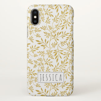 Gold glitter leaves pattern with name iPhone x case
