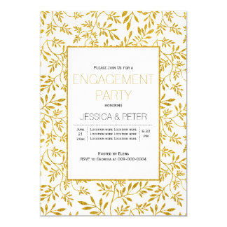 Gold glitter leaves wedding engagement party card