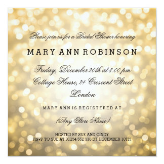 Gold Glitter Lights Elegant Bridal Shower 13 Cm X 13 Cm Square Invitation Card