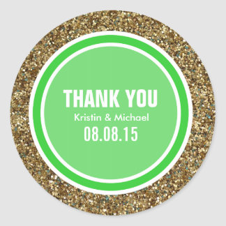 Gold Glitter & Lime Green Thank You Label Round Sticker