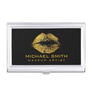 Gold Glitter Lips #2 Business Card Holder