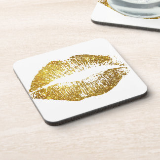 Gold Glitter Lips #2 Drink Coaster