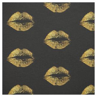 Gold Glitter Lips #2 Fabric