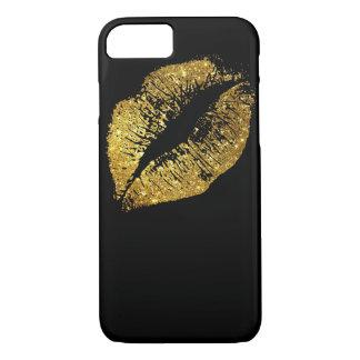 Gold Glitter Lips #2 iPhone 8/7 Case