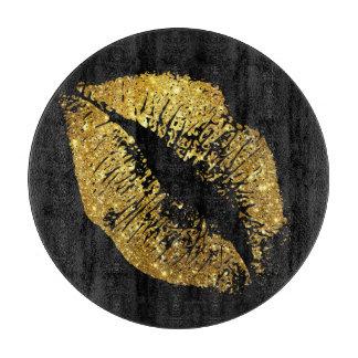 Gold Glitter Lips #4 Cutting Board