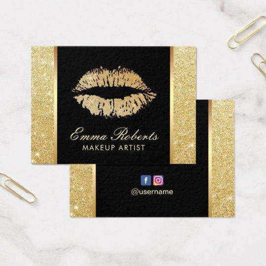 Gold Glitter Lips Makeup Artist Modern Salon Business