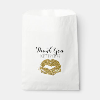Gold Glitter Lips Thank You Bag Favour Bags