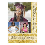 Gold Glitter-Look 3 Photo Graduation Custom Announcement