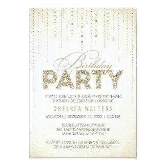 Gold Glitter Look Birthday Party 13 Cm X 18 Cm Invitation Card