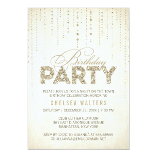 Gold Glitter Look Birthday Party Card