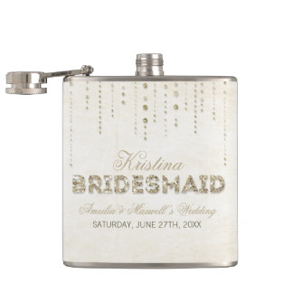 Gold Glitter Look Bridesmaid Flask