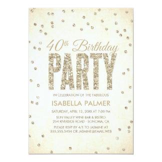 Gold Glitter Look Confetti 40th Birthday Party 13 Cm X 18 Cm Invitation Card
