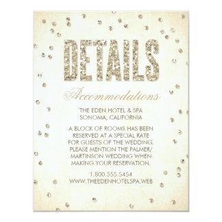 Gold Glitter Look Confetti Dots Wedding Details 11 Cm X 14 Cm Invitation Card