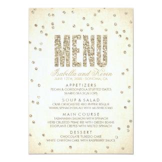 Gold Glitter Look Confetti Dots Wedding Menu Card