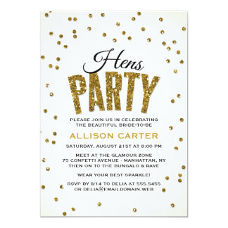 Gold Glitter Look Confetti Hens Party 13 Cm X 18 Cm Invitation Card